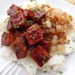 BBQ Tofu with Caramelized Onions