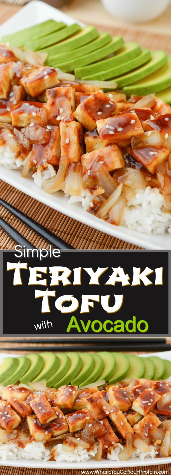 Teriyaki Tofu with Avocado is a quick and easy lunch or dinner! The caramelized onions and oven baked tofu are piled on top a soft bed of organic white basmati rice. It's then drizzled with a sweet & salty teriyaki sauce, and topped with sliced buttery ripe avocado! Vegan & Gluten-free