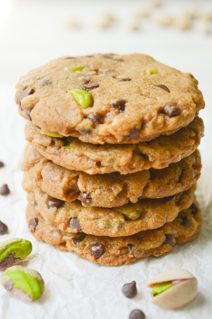 Vegan Holiday Cookie - loaded chocolate chip pistachio cookies stacked