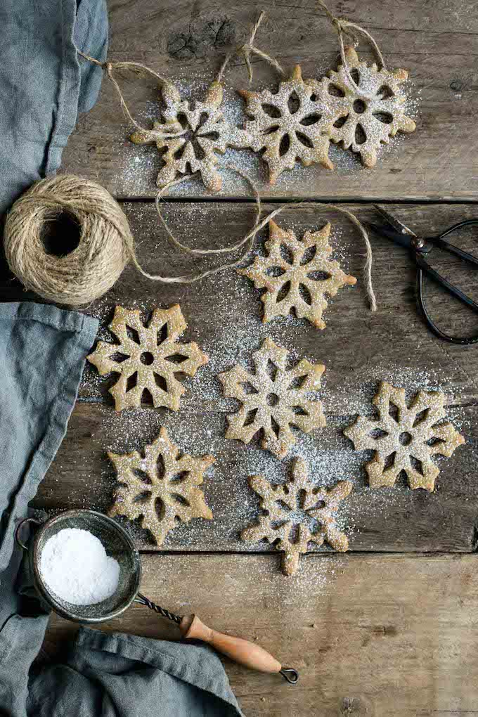 Vegan Holiday Cookie - Cinnamon Maple Snowflake Cookies that double as ornaments.