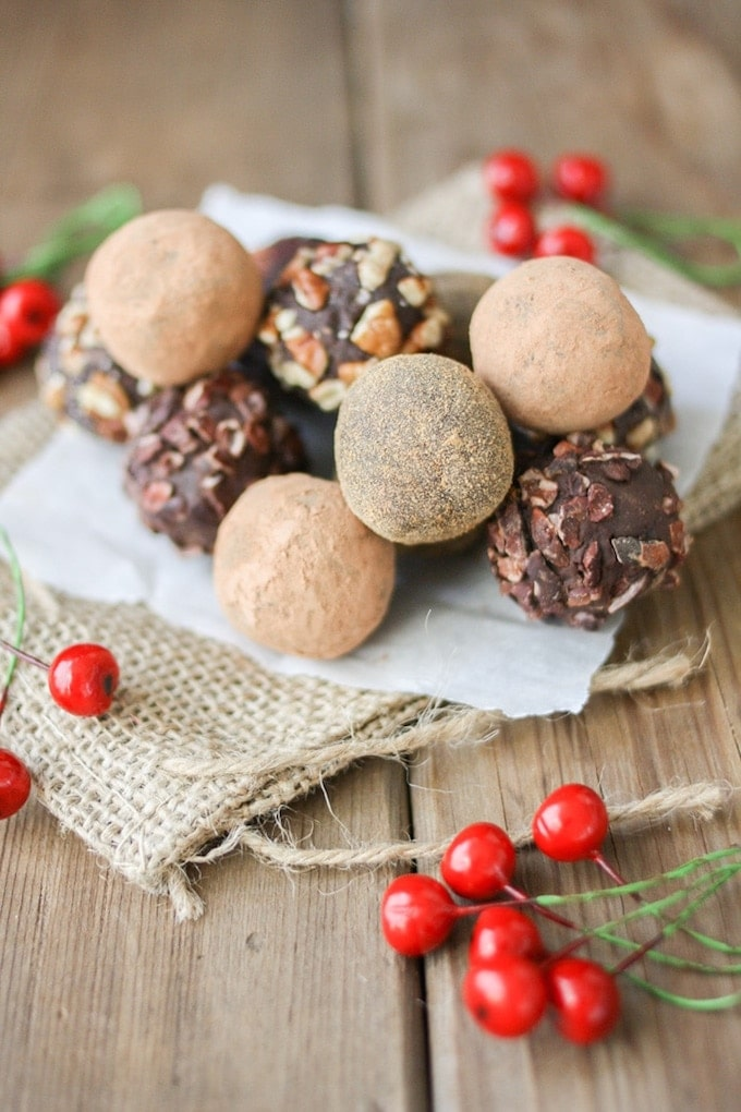 Vegan Holiday Cookie - Pile of cranberry crunch dark chocolate truffles